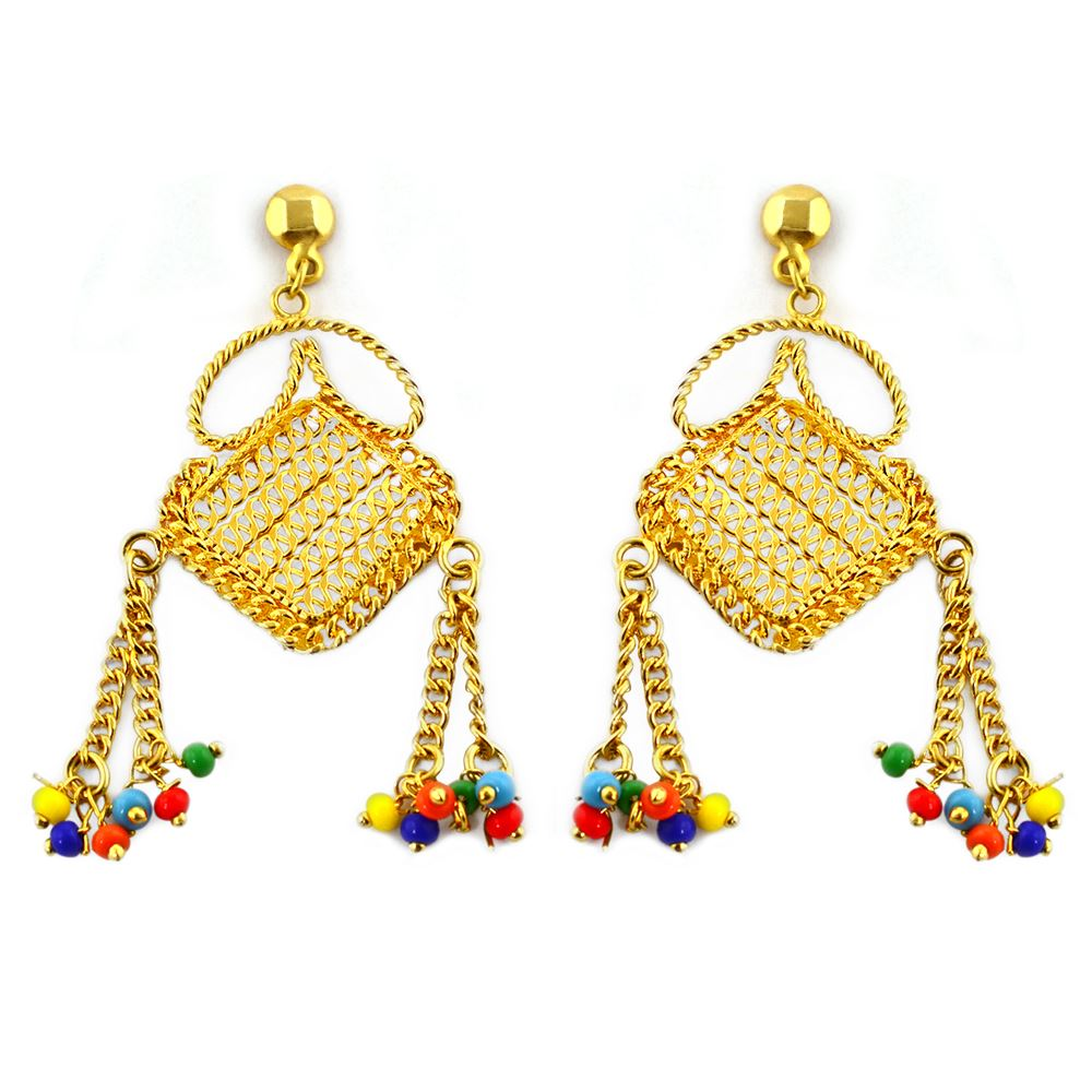pearl kundan earrings multi product traditional meena with color img